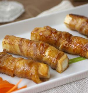 木綿豆腐の豚バラ巻き