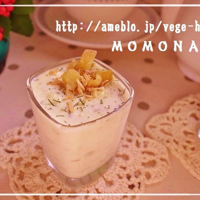 15秒で泡立つホイップと豆乳使用で簡単レアチーズ♪ココナッツフレークトッピング グラスデザート