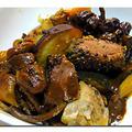 鴨と里芋、サツマイモ、かぼちゃの煮込みの赤味噌仕立て【Canard et Colocase etPatate douce  et Ctroouille au Miso rouge】