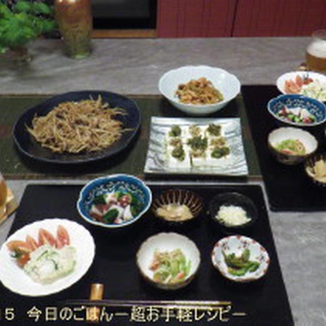 7/3の晩ごはん きゅうり・ゴーヤ・もやし(笑) お野菜たっぷりで深夜晩酌♪ちまちま9品♪
