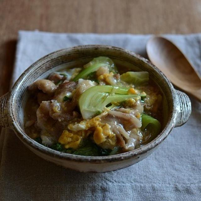 豚肉と青梗菜の卵あんかけ丼