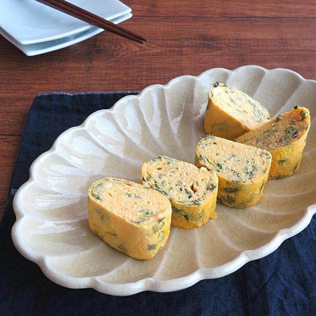 簡単アレンジ卵焼き☆明太子と青じそ風味のだし巻き卵
