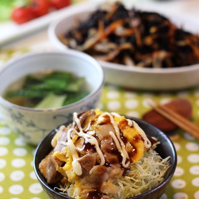 豚肉と半熟卵のマヨソース丼