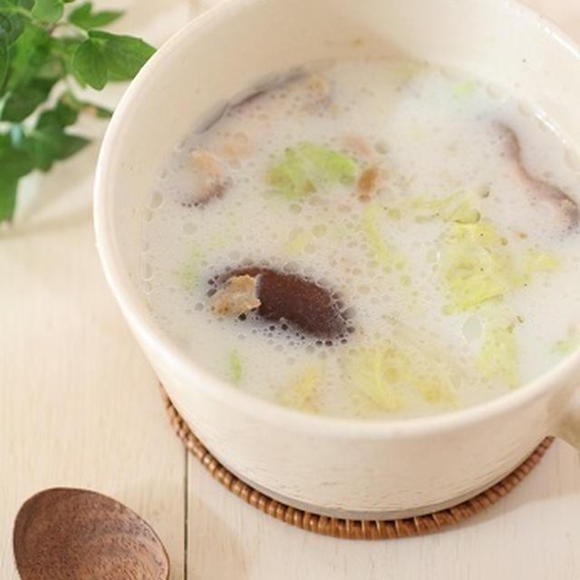 暮らしニスタ【レシピ・丈夫な骨を作ろう!!白菜としいたけのジンジャーミルクスープ】