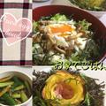 半熟目玉焼きの甘辛煮丼と花ポテト