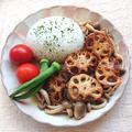 肉肉しいれんこんの挟み焼きしめじ煮ビーフストロガノフ