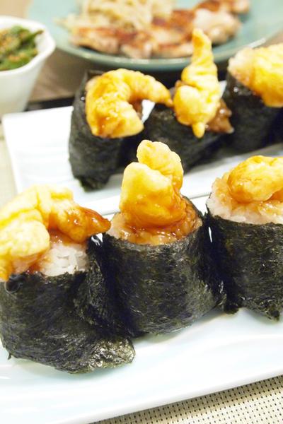 【和食】「手作り天むす」&鶏もも肉のうま塩焼き&いんげんのバターピーナッツ和えで晩ごはん。