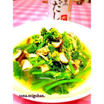 菜花と椎茸とツナのさっと煮。