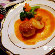 肉詰めカブのトマトジュース煮♪ Stuffed Turnip Tomato Sauce