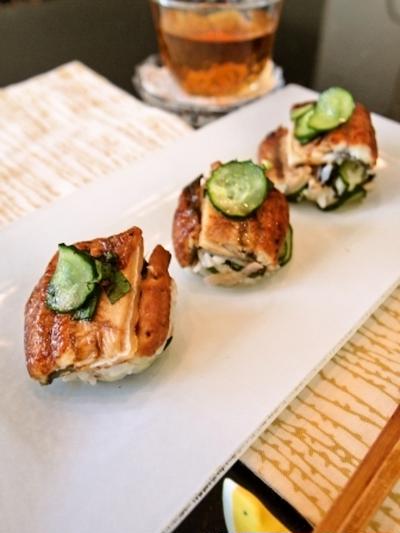 薬味たっぷり☆さっぱりうなぎの手まり寿司