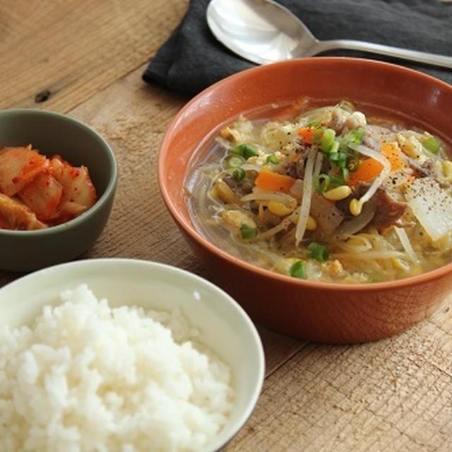 一汁一菜献立♪牛肉と豆もやしのクッパ風スープ