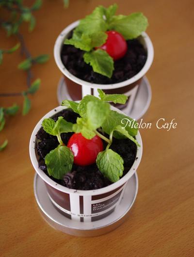 簡単ティラミスの植木鉢ケーキ☆Suipa.の容器モニター「ペーパーカップBR132ml&専用蓋」