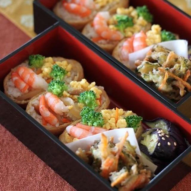 海老と卵のいなり寿司 ☆ 鶏もも肉のさっぱり煮♪