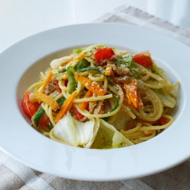 ありもの野菜とツナのサラダ風スパゲッティ