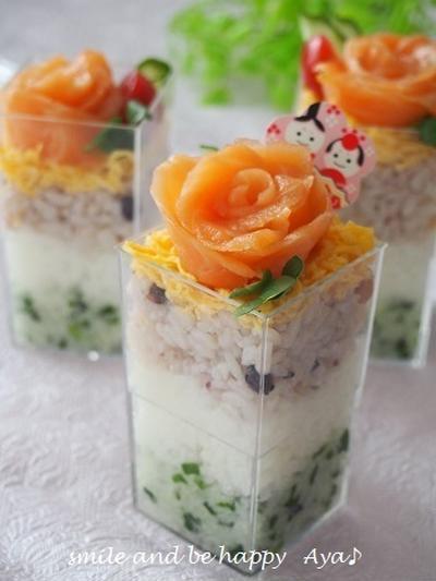 ひし餅風♪ 3色カップ寿司