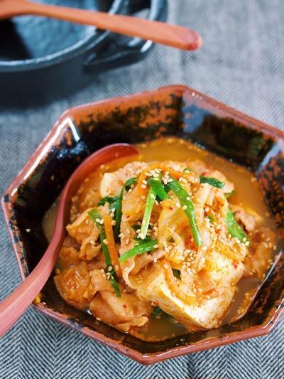 お鍋に入れて煮るだけ5分♪ご飯がすすむ♪『豚キムチ肉豆腐』