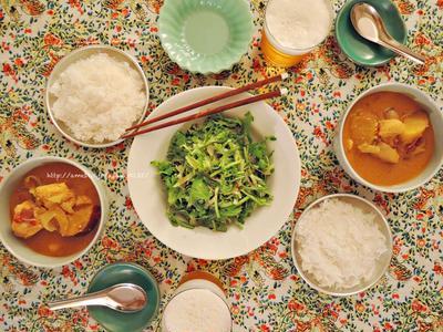 ベトナムチキンカレーと春菊のサラダ。