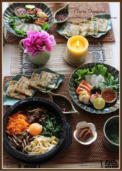 韓国風ピリ辛タレ!で、刺身を食す♪&石焼ビビンパ