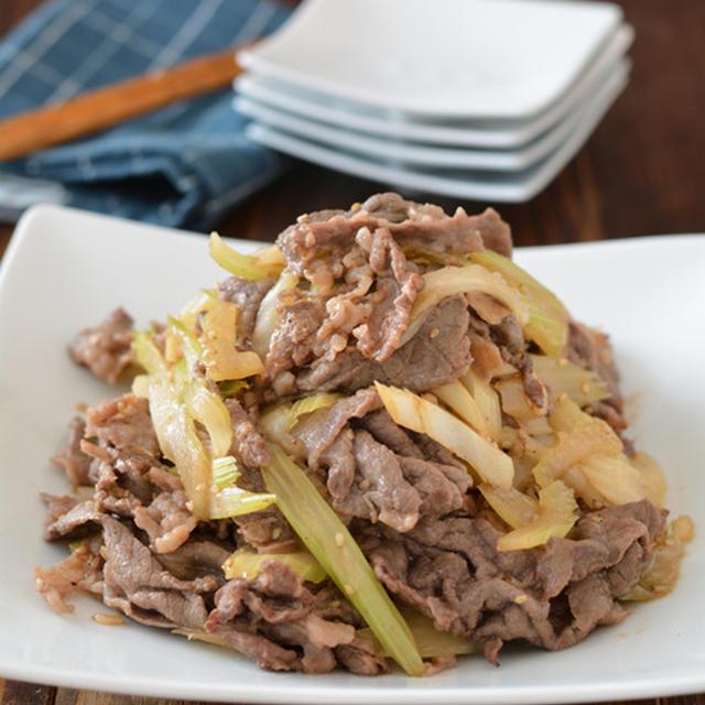 牛肉とセロリの甘辛炒め。【スピードごはん・フライパンメイン】のごはんの日。