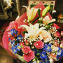 講演後の花束。