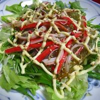 水菜とトコロテンのサラダ
