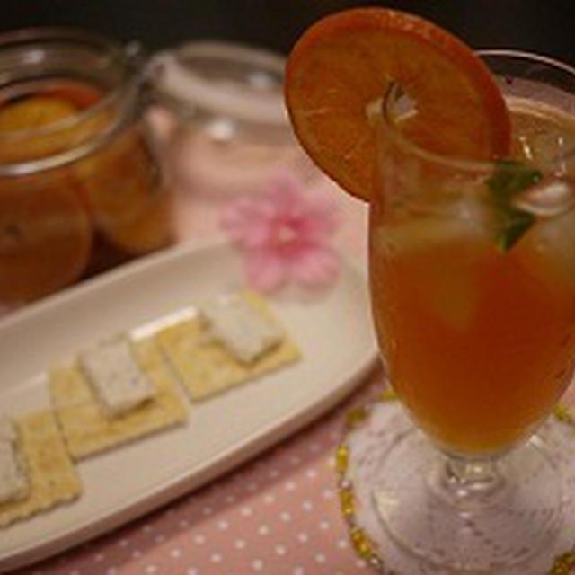 家飲みは~タンカンフルブラの紅茶割り♡&いわき市のトマト 親バカトマト