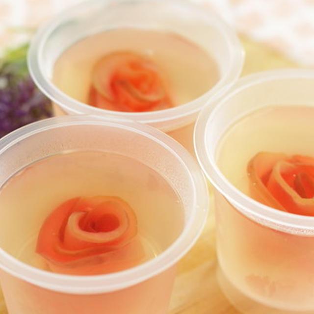 アガーで作る、薔薇の入ったりんごゼリーのレシピ
