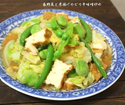 春野菜と厚揚げのピリ辛味噌炒め