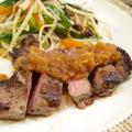 【和食】「牛ランプのステーキ☆和風おろしソース」&野菜ソテーと煮物&新じゃがゴロゴロポテトサラダで晩ごはん。&手作りあずきアイス。