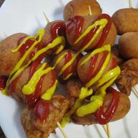 串で味わう♡うずら卵と玉ねぎとお魚ソーセージのアメリカンドッグ~♪