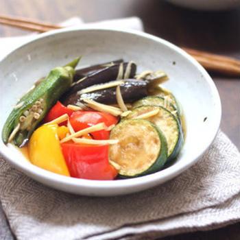 クリンスイ連載8月【しょうが風味♪夏野菜の焼きびたし】