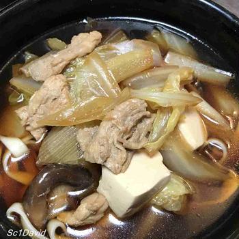 肉うどん・椎茸煮・鰯丸干し