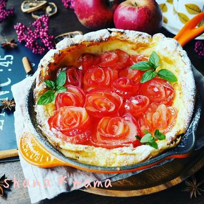 栗ご飯おむすび弁当♪とシナモンシュガーたっぷりで♪薔薇林檎のダッチベイビー♪