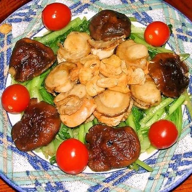 ホタテのバター焼き&茄子とピーマンと豚バラ肉炒め
