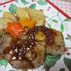 りんごと豚肉のオーブン焼きのハニーマスタードソース