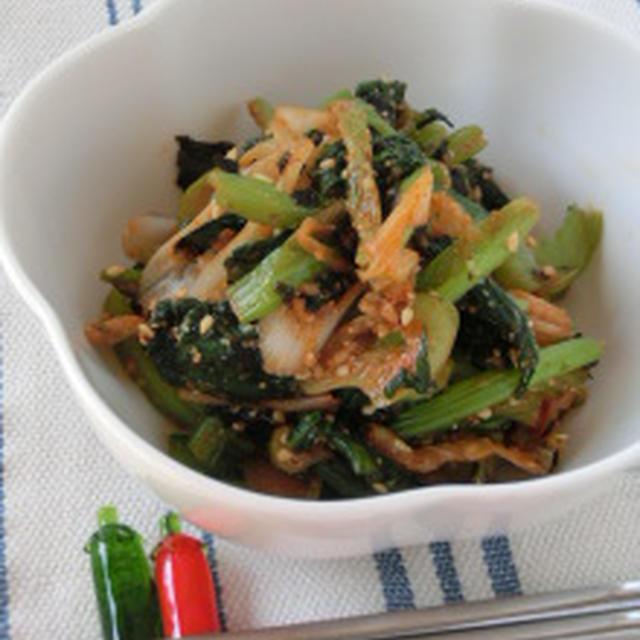 いつもの和えものに一工夫☆小松菜の韓国海苔ゴマ和え