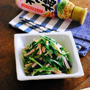 水菜とハムのレンチン梅和え
