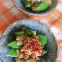 ★スナップエンドウと納豆に2種の塩麹を。