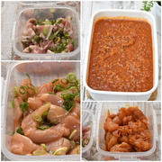 お弁当用作りおき|鶏むね肉のピリ辛漬け・甘辛漬け・豚肉のネギ塩漬け・ミートソース