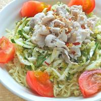 バリ粗唐辛子の作り置きサラダで簡単!爽やか&ピリ辛〜豚しゃぶ冷やし中華。