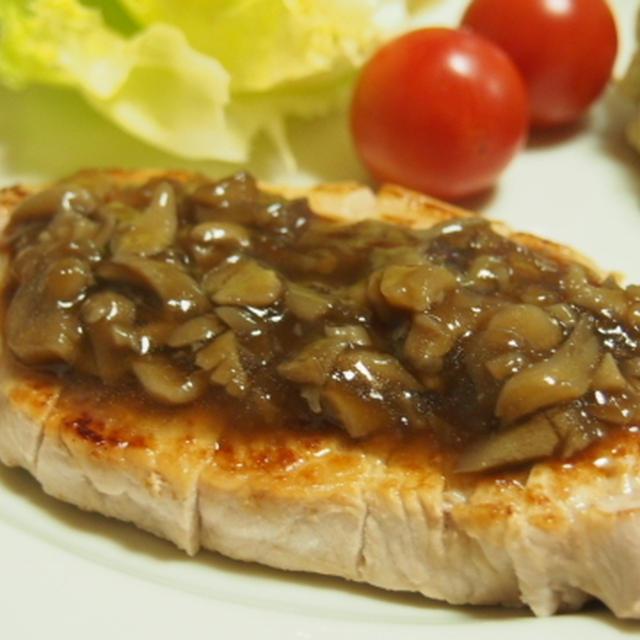 豚ロース肉の麺つゆ舞茸ソース  アボカドとくるみのクリームチーズ和え  チーズ入りオクラの天ぷら