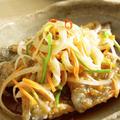 【和食】新玉ねぎで☆あじの南蛮漬け&春キャベツのにんにく醤油炒め&ツナサラダで晩ごはん。