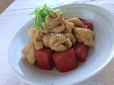 節約料理♪赤こんにゃくと鶏皮のニンニク味噌煮