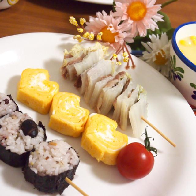 簡単朝ごはん!串ごはん(雑穀おにぎり/ハート卵焼き/白菜と豚肉のミルフィーユ)