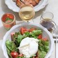 サニーレタスとグリーンリーフとトマトとブッラータのサラダ