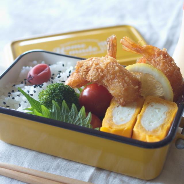今日のお弁当(簡単レシピ:二色玉子焼き)