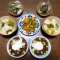 【家ごはん/献立】 肉味噌丼 と 人参の塩キンピラ