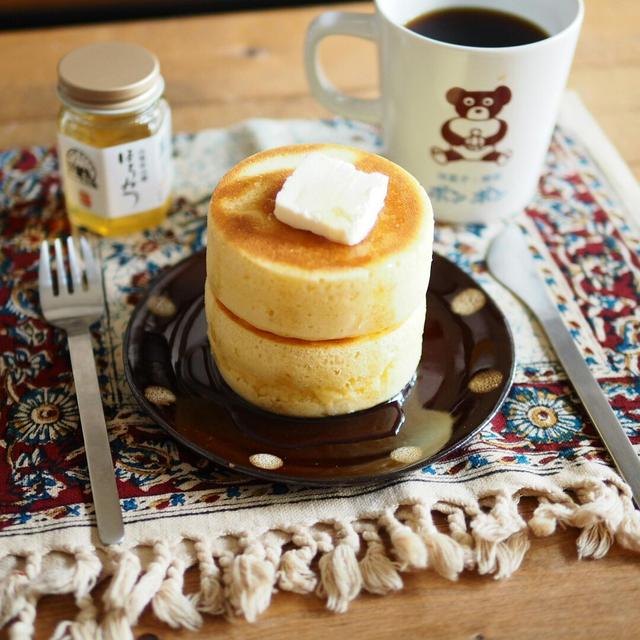 セリアの型で!厚焼きパンケーキ