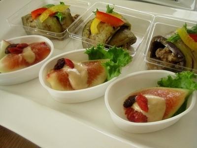 前菜に☆ナスの肉味噌巻き・サツマイモリンゴサラダ