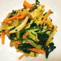 【簡単】生姜入りほうれん草と卵のぽかぽか野菜炒め